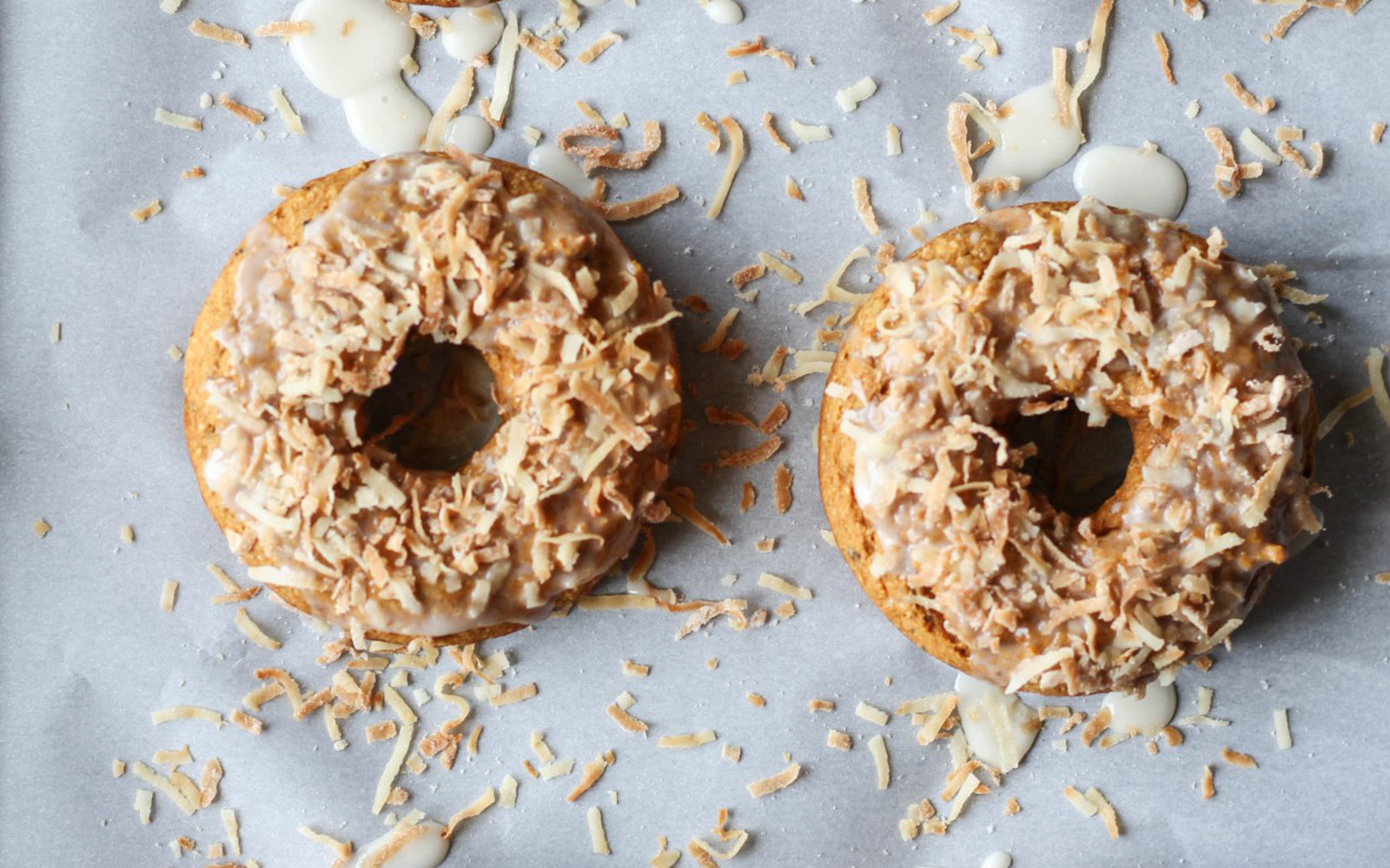 Pumpkin Spice Toasted Coconut Doughnuts
