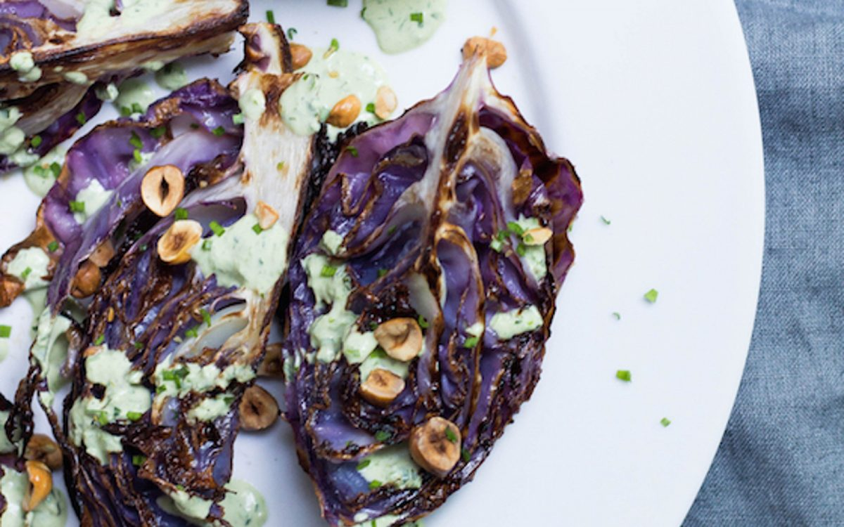 Roasted Purple Cabbage With Green Goddess Dressing Vegan One Green Planet