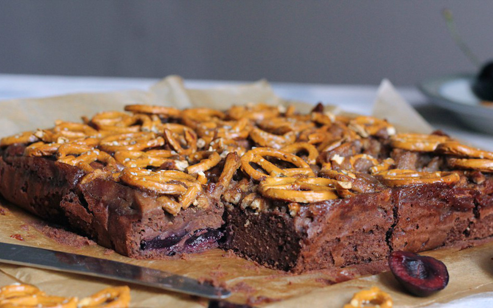 Salted Caramel and Cherry Pretzel Brownies b