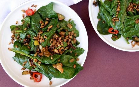 Spinach Salad With Barley Bacon
