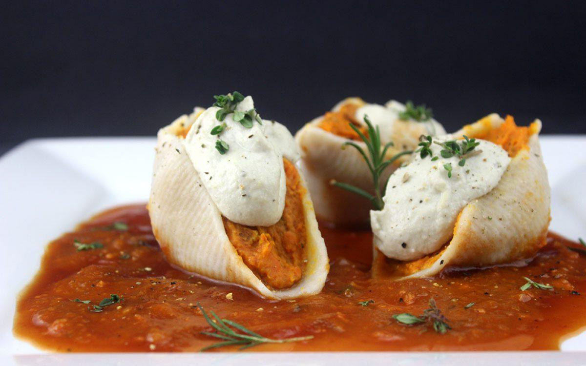 Vegan Sweet Potato Stuffed Shells With Cashew Alfredo