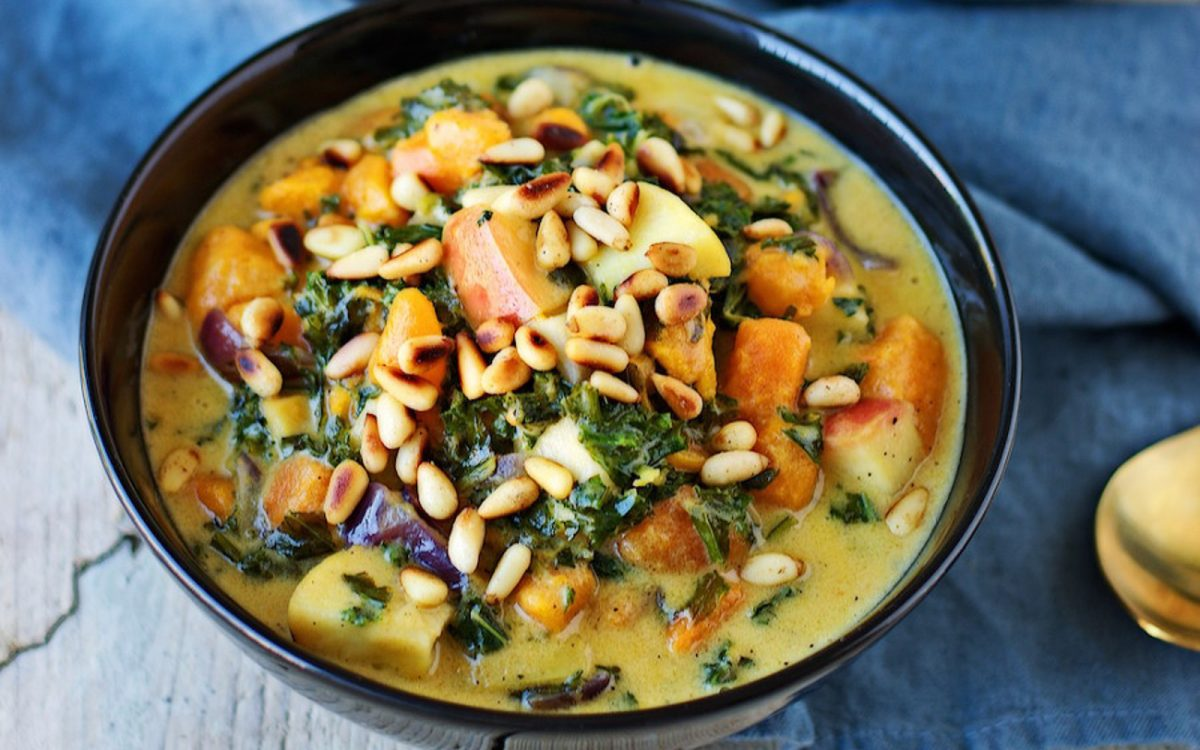 Sweet Potato Soup With Kale and Crunchy Pine Nuts