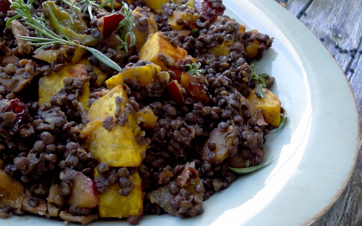 Beluga Lentils With Butternut Squash Mushrooms And Plums Vegan Gluten Free One Green Planet