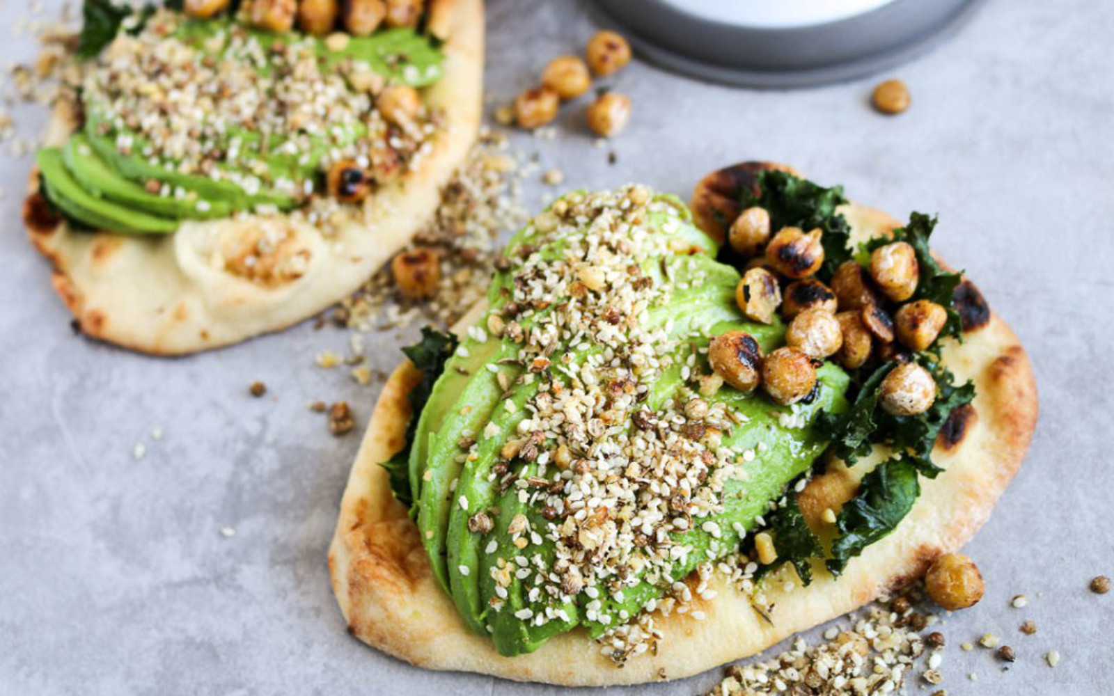 Naan Avocado Toast with Dukkah & Pan-Fried Chickpeas