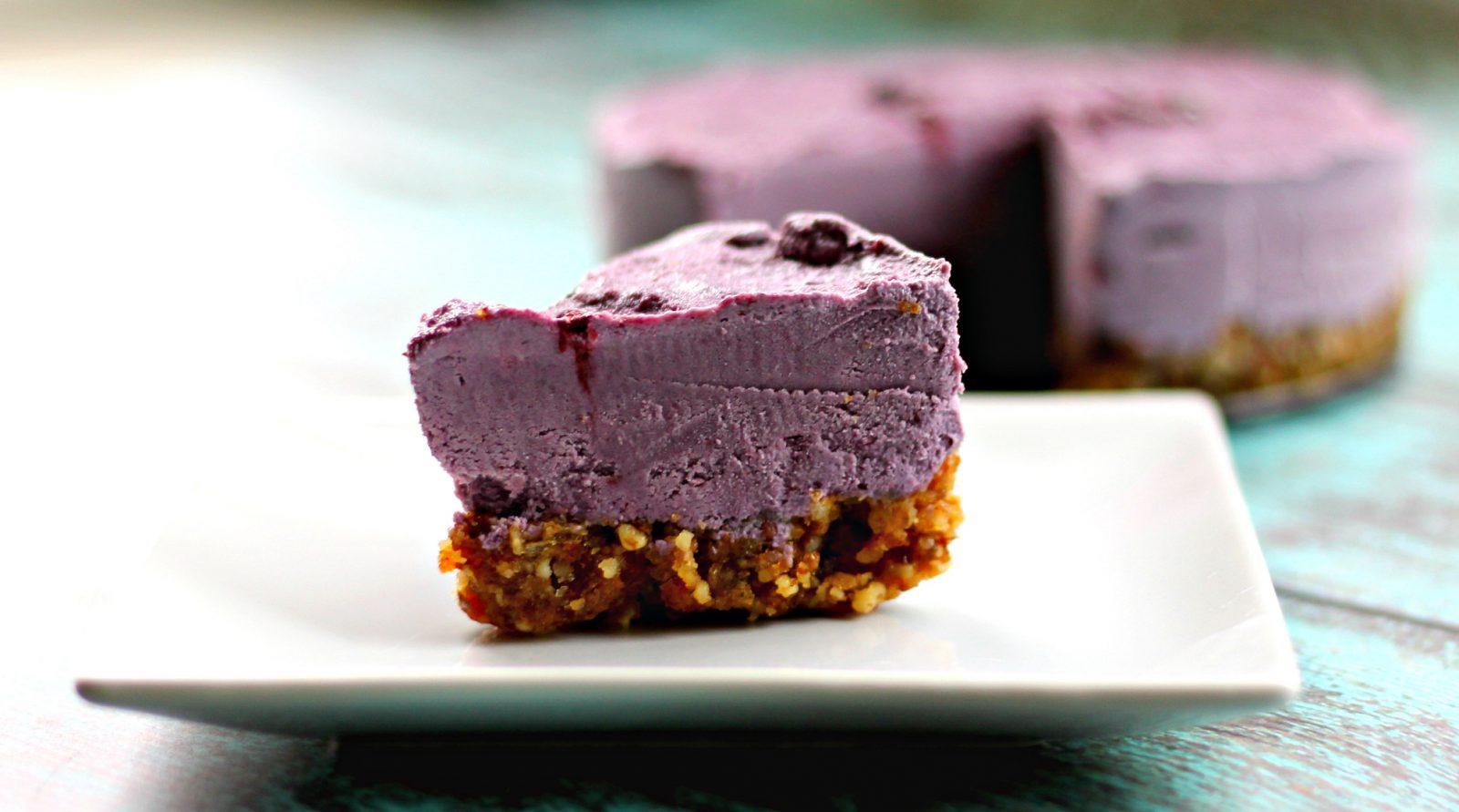 Vegan Calming Blackberry Lemon Lavender Cheesecake