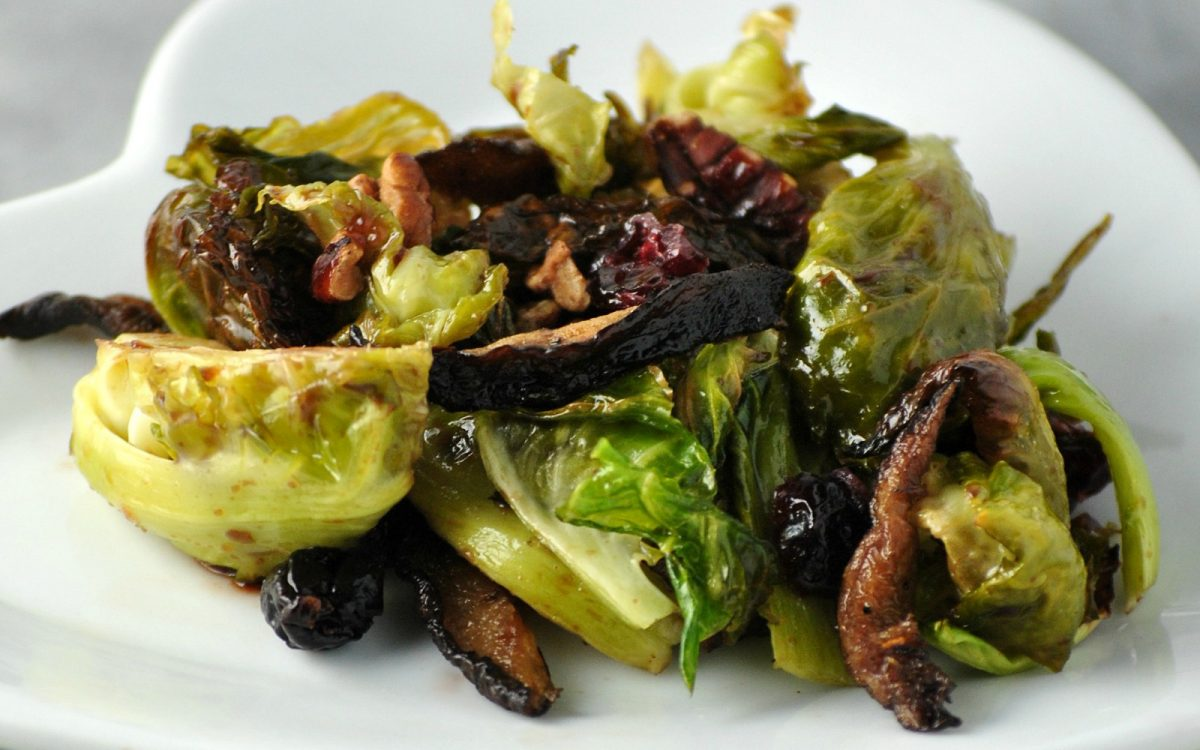 Balsamic Brussels Sprouts With Shiitake Bacon