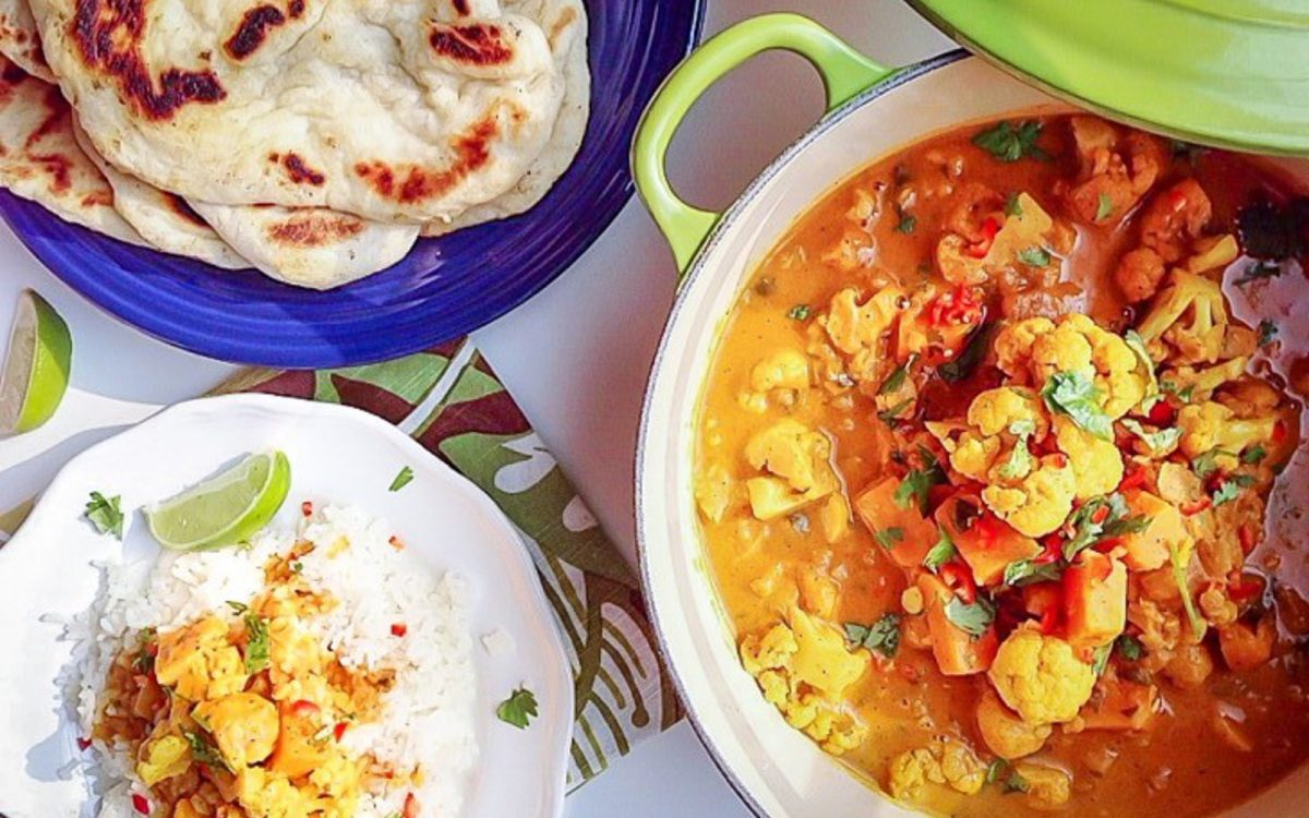 Butternut and Cauliflower Stew With Roasted Naan