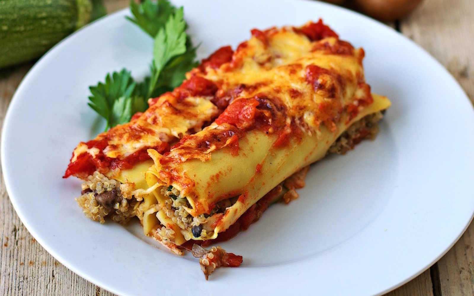 Cannelloni With Quinoa Mushroom Stuffing
