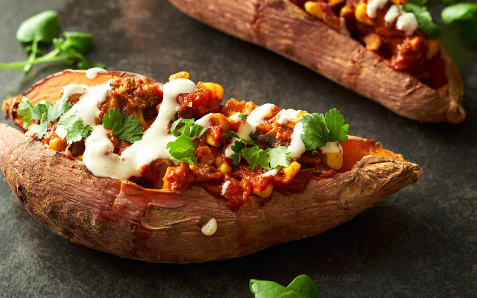 Chickpea Curry Stuffed Sweet Potatoes