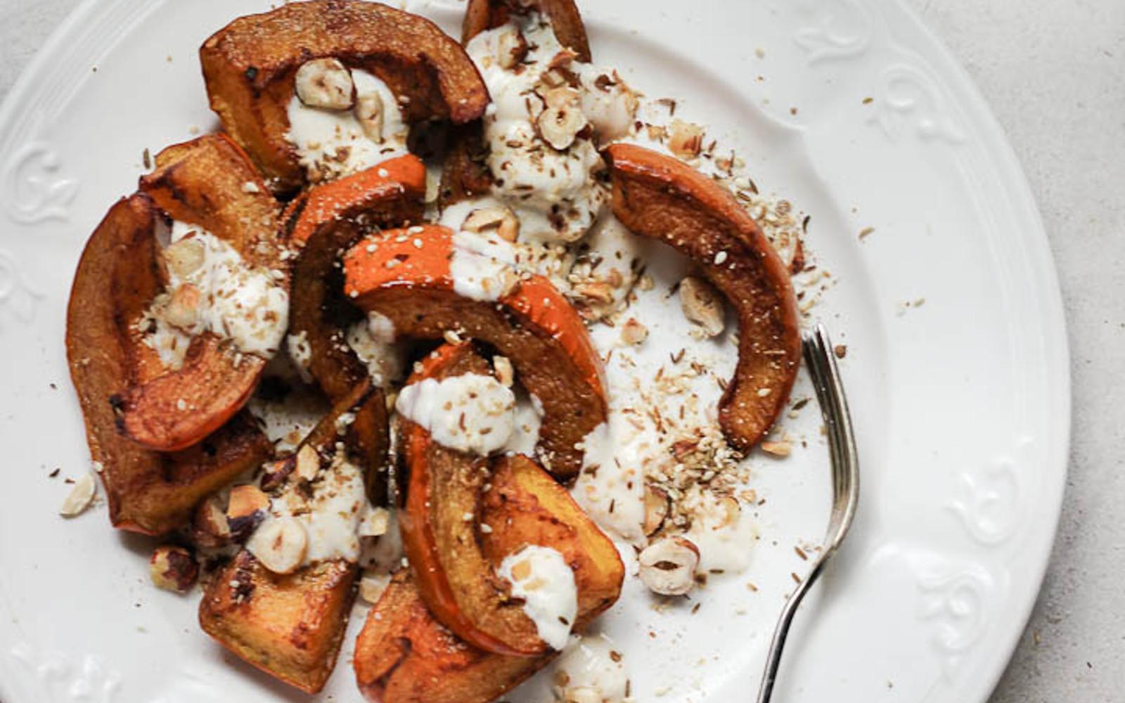 Cinnamon Roasted Pumpkin With Tahini Yogurt and Hazelnut Dukkah