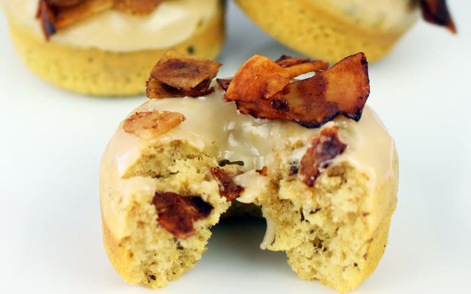 Coconut Maple Vegan Bacon Doughnuts