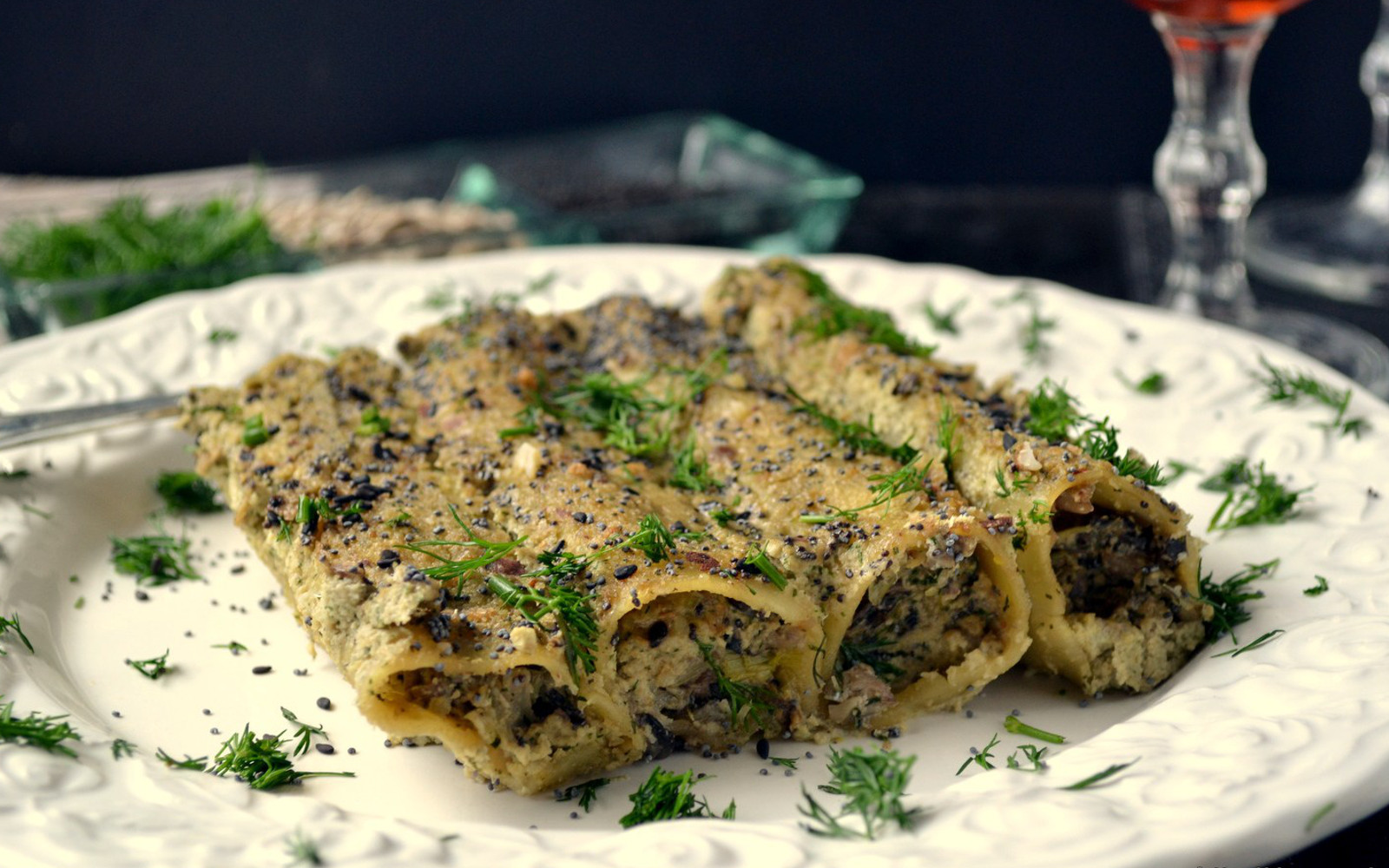 Mushroom Stuffed Cannelloni With Sunflower Seed Cream