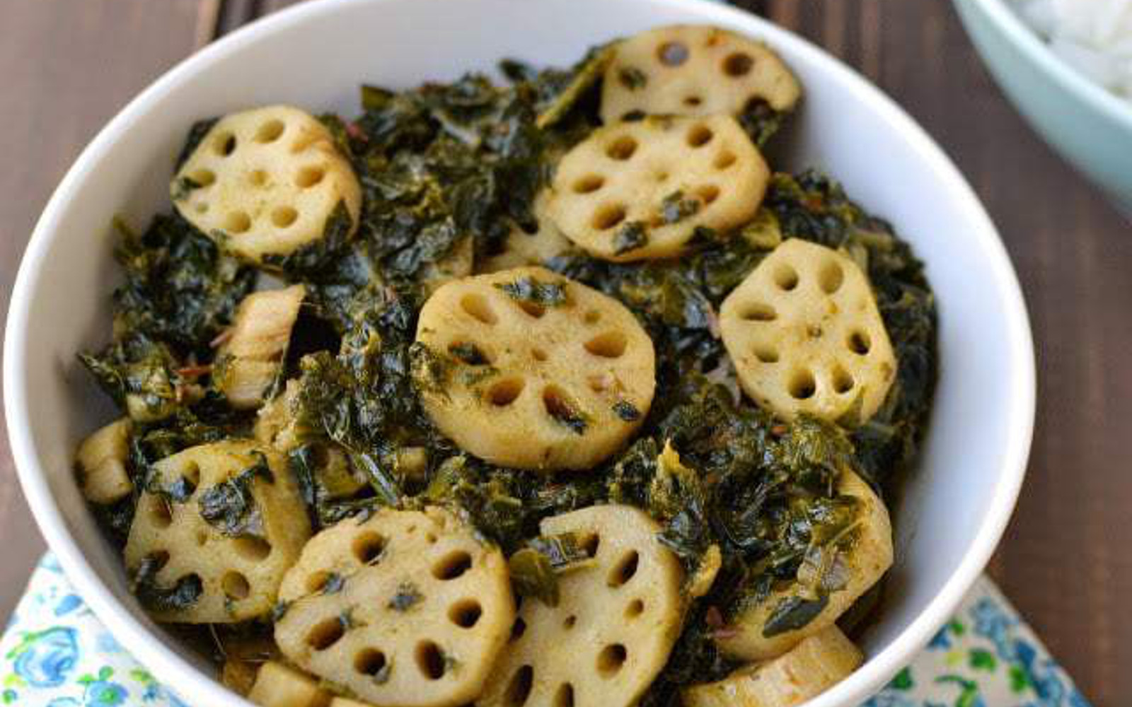 Palak Nadir: Spinach and Lotus Stem Curry