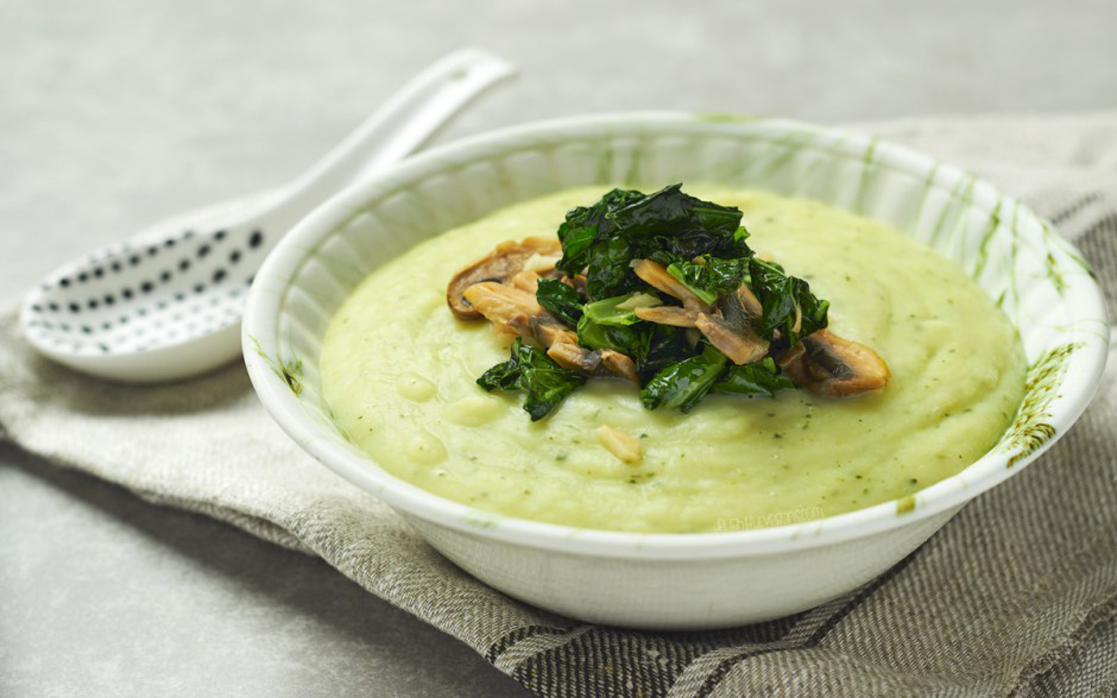 Potato Soup With Mushrooms Garlic and Kale