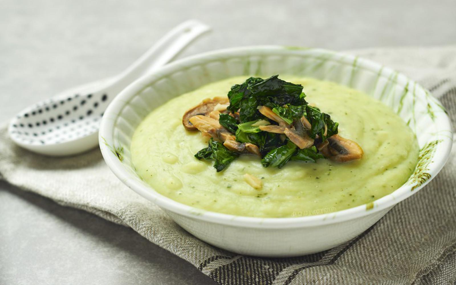 Potato Soup With Mushrooms Garlic and Kale