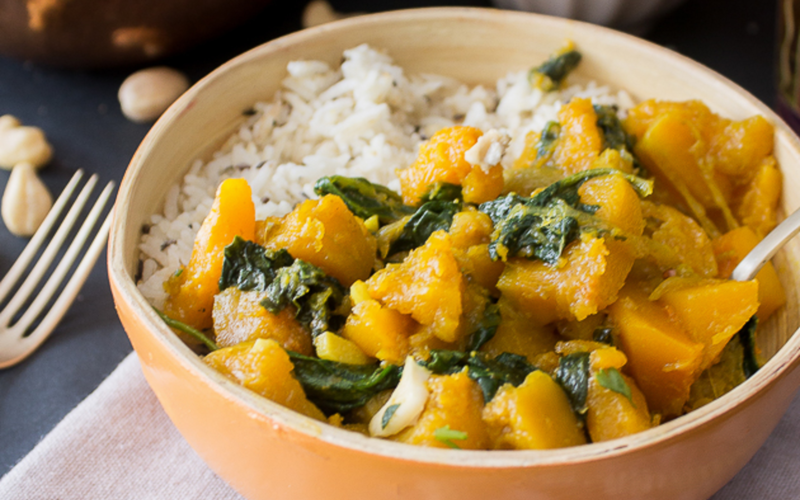Pumpkin and Spinach Curry b