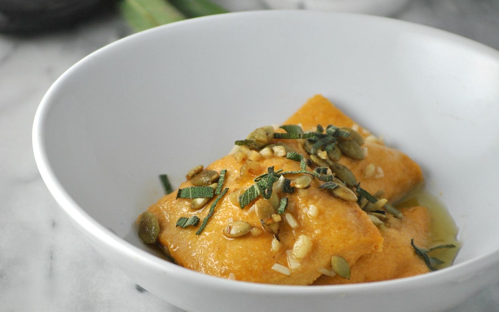 Pumpkin Sage Ravioli in White Wine Butter Sage Sauce