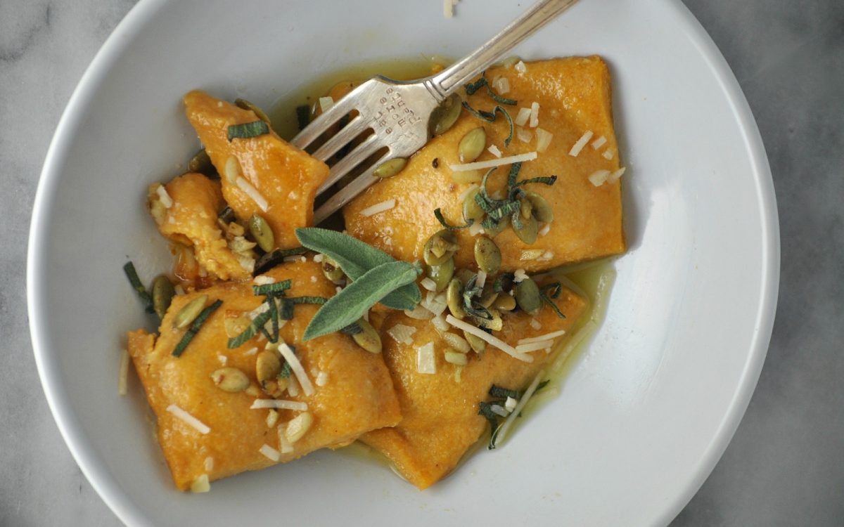 Vegan Pumpkin Ravioli in White Wine Butter Sage Sauce