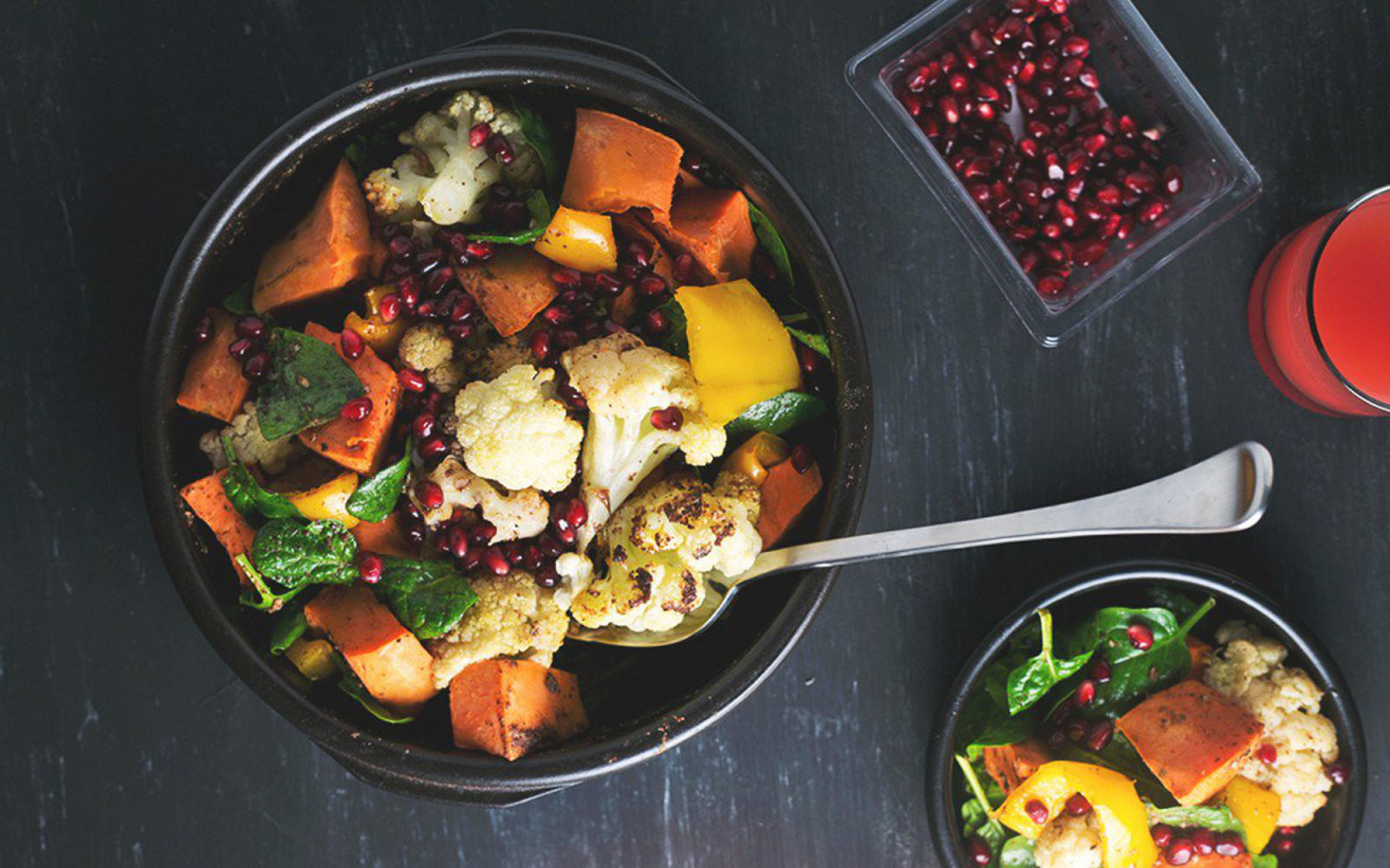 roasted cauliflower and sweet potato salad