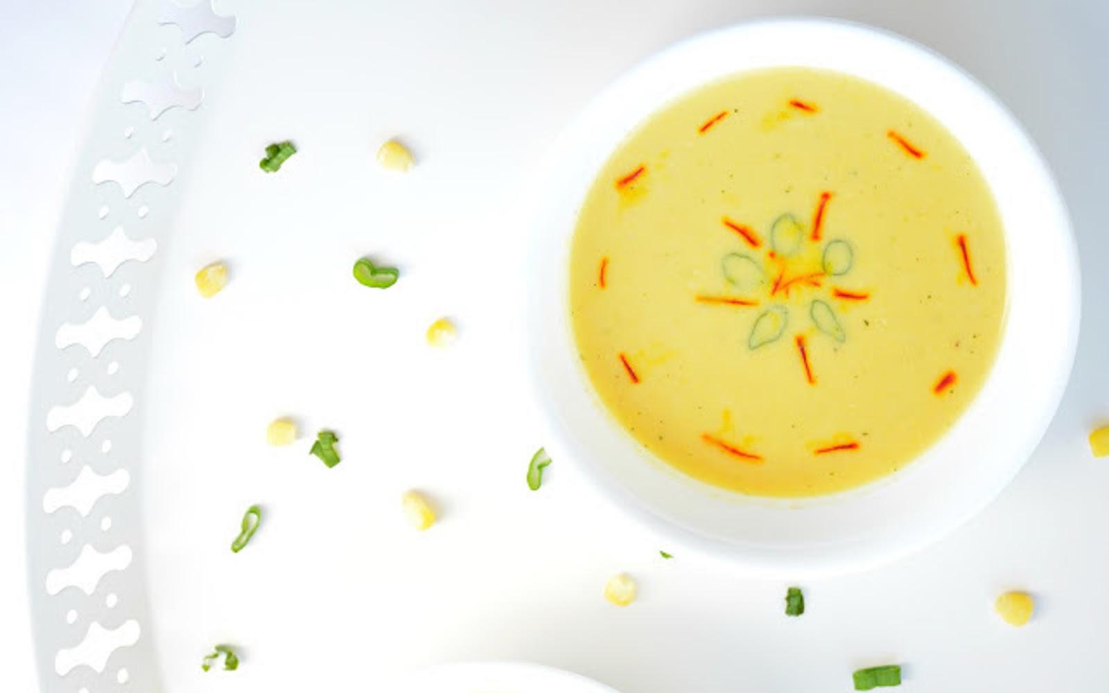 Saffron, Corn, and Bell Pepper Soup