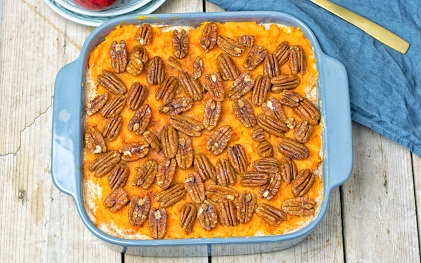 Sweet Potato Casserole With Almond Sauce and Candied Pecans b