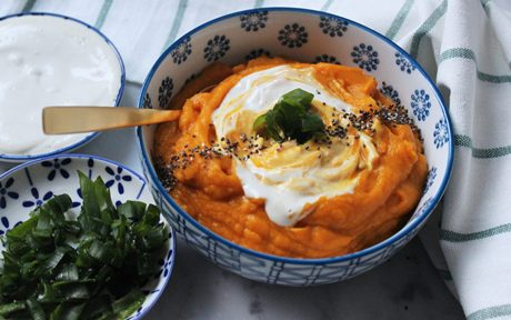 Sweet Potato Mash With Roasted Garlic and Cashew Cream b