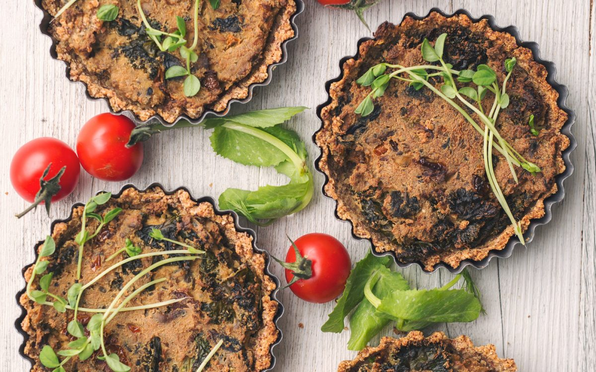 Vegan mushroom and kale quiche