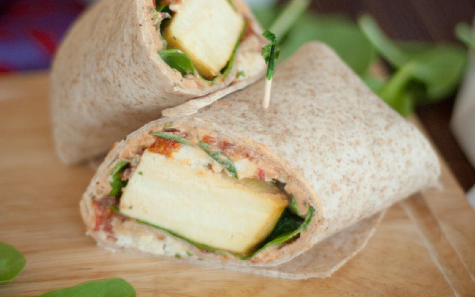 spinach and almond feta breakfast wrap