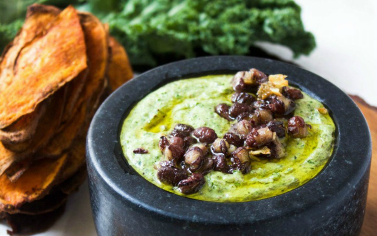 Adzuki Bean and Kale Hummus With Sweet Potato Chip