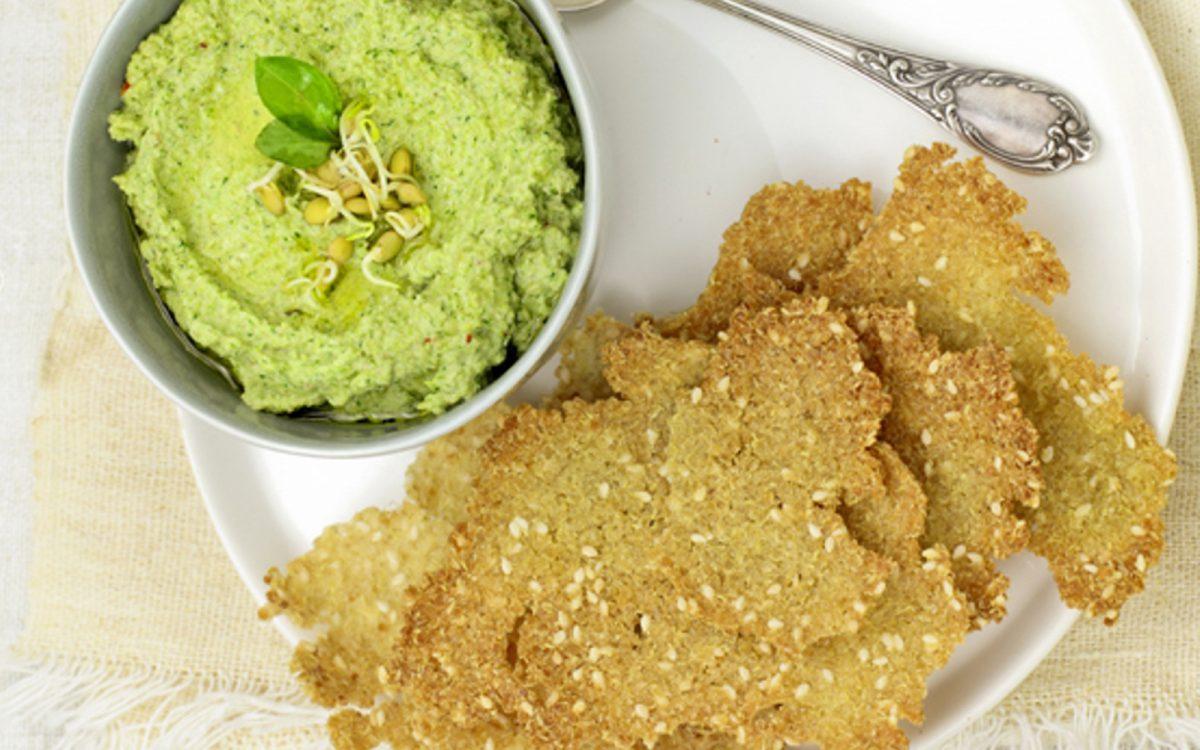 Broccoli Pate With Quinoa Crackers