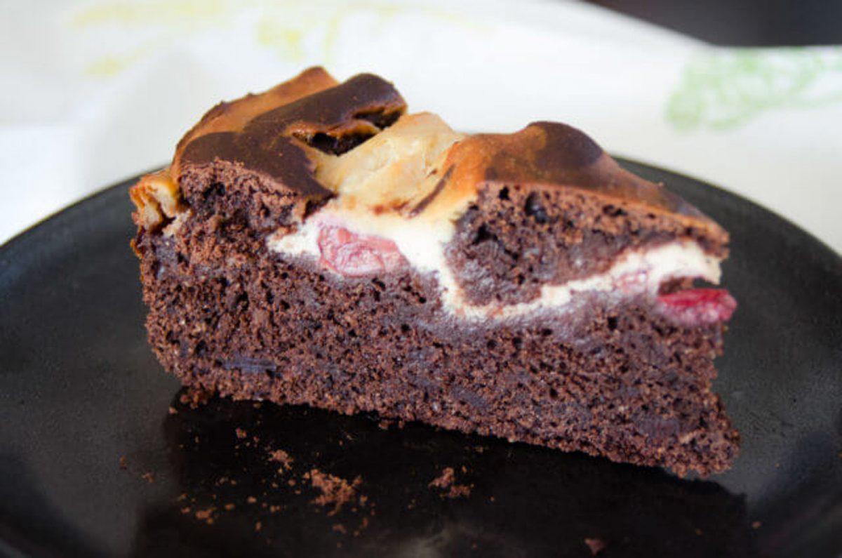 Vegan Brownie Torte With Cherries and Cheesecake Topping
