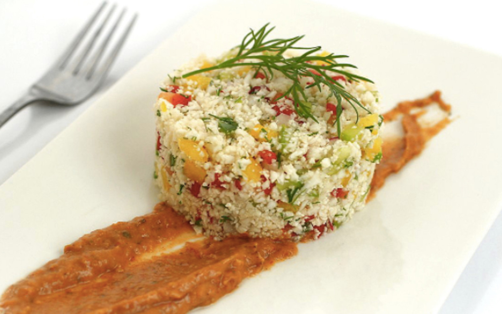 Cauliflower Couscous With Sun-Dried Tomato Sauce