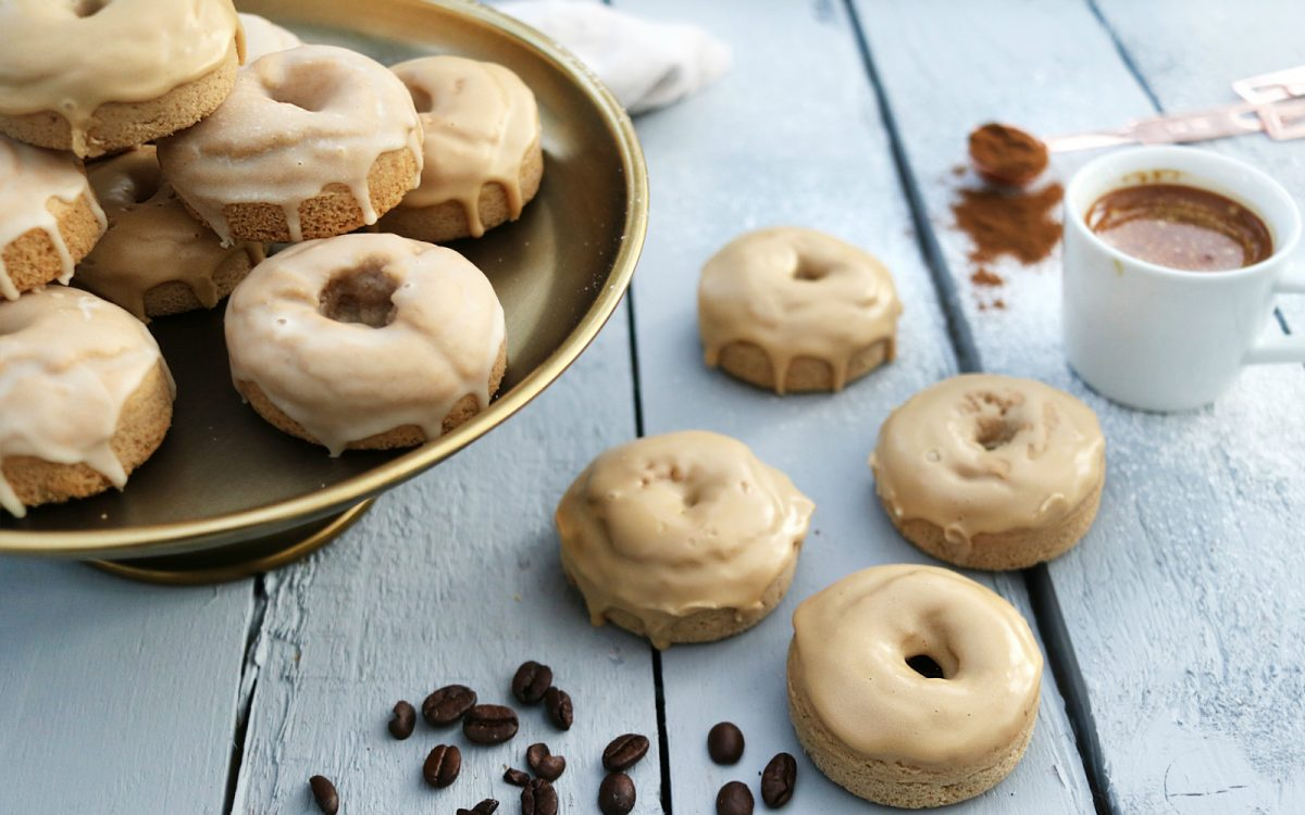 Vegan Cinnamon Doughnuts With Coffee and Vanilla Glaze