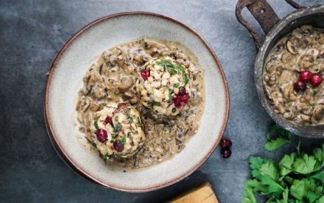 Cranberry Bread Dumplings With Mushroom Sauce b