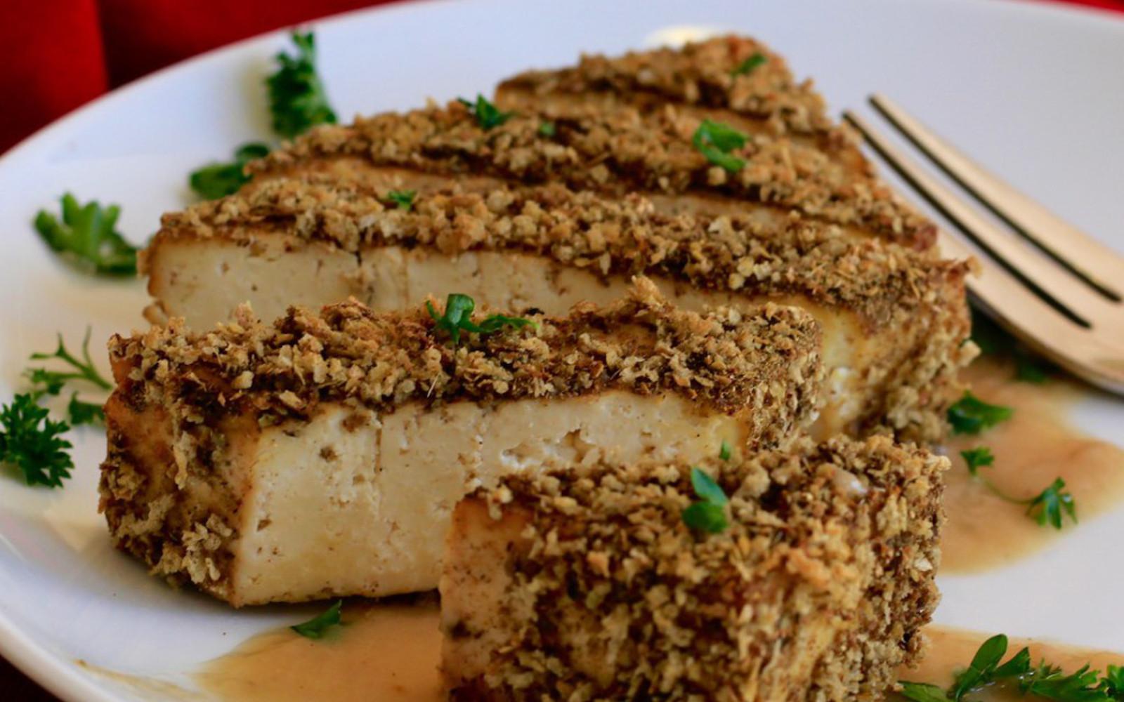 Crispy Coated Baked Tofu With Gravy b