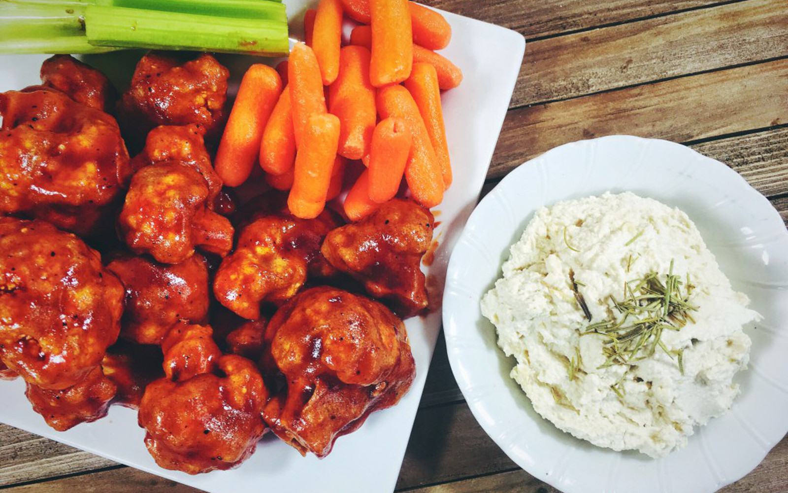 Spicy BBQ Cauliflower Wings With a Cashew Dipping Sauce