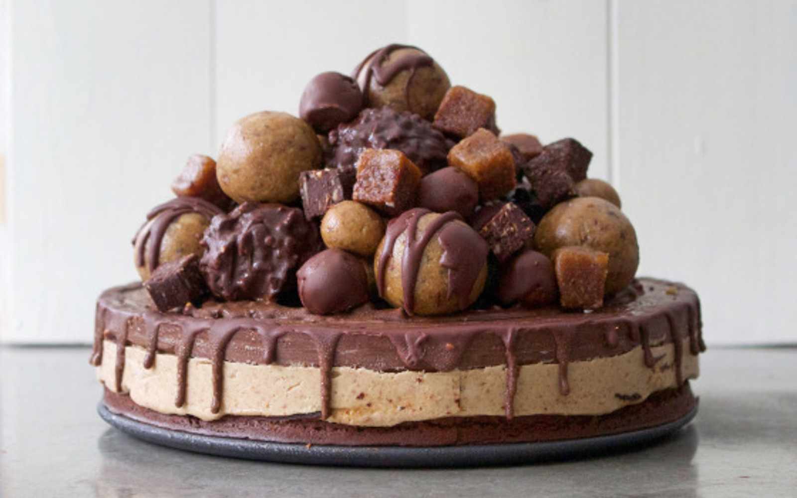 Peanut Butter Cup Chocolate Fudge Brownie Birthday Cake