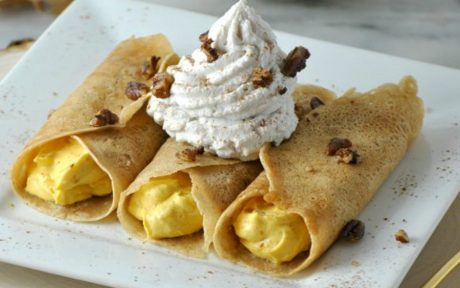 Pumpkin Crepes With Cinnamon Coco Whip and Candied Pecans