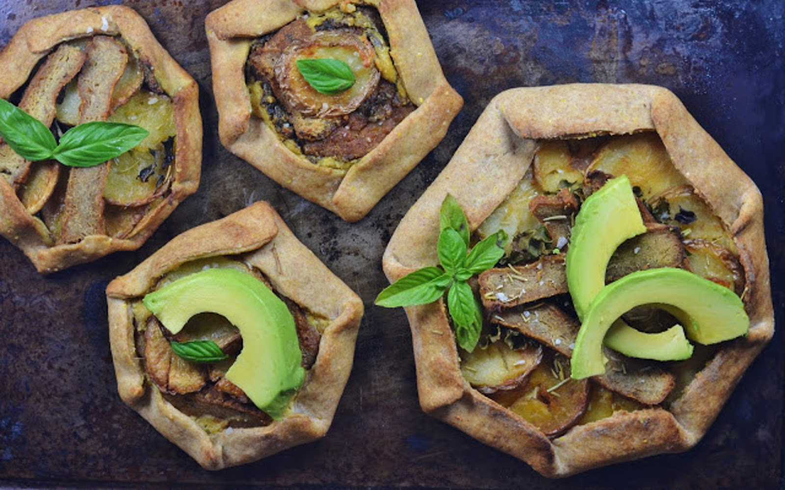 Roasted Rosemary Potato and Seitan Galette With Cashew Cheese b