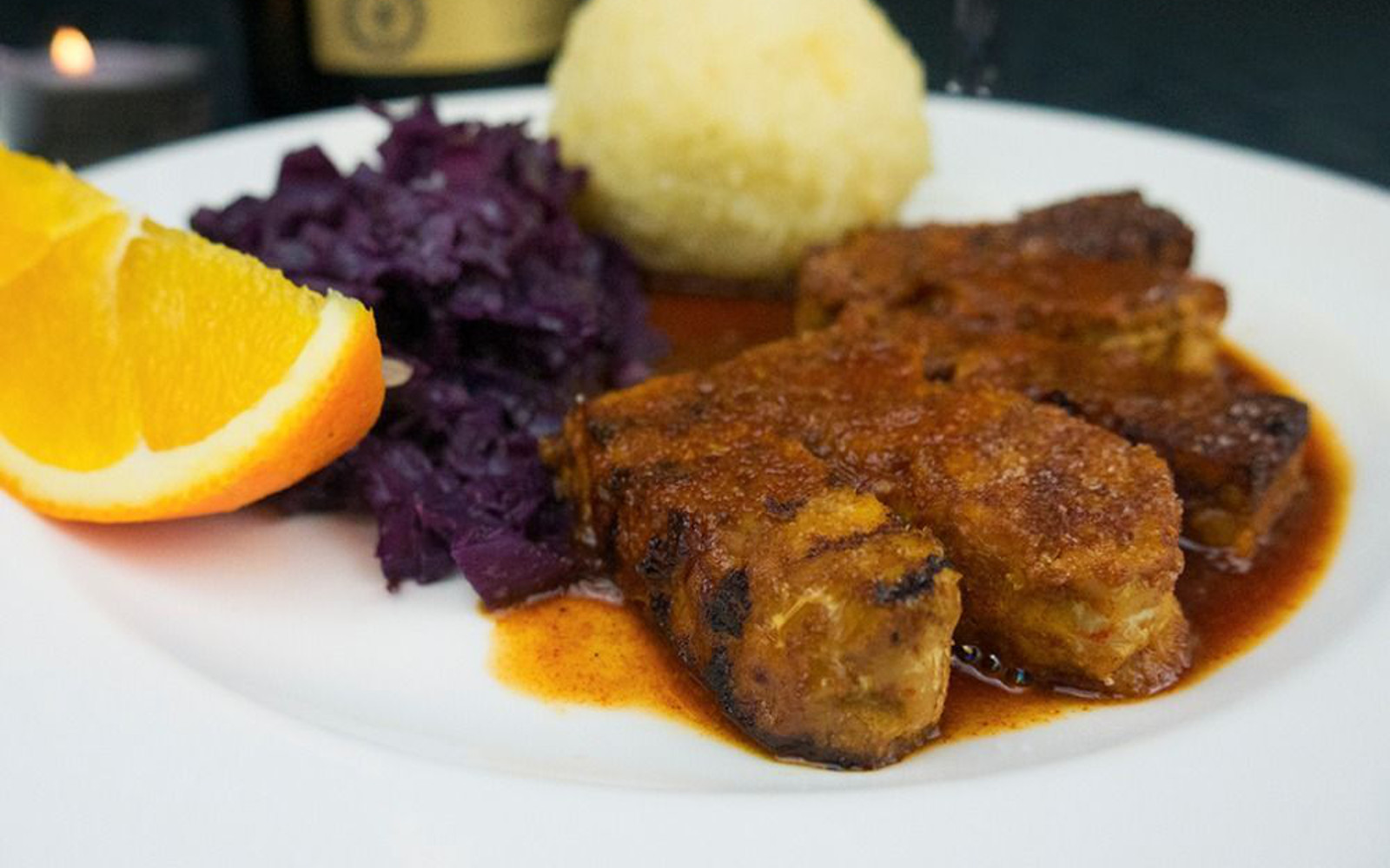 Tempeh a L'Orange With Red Cabbage and Potato Dumplings
