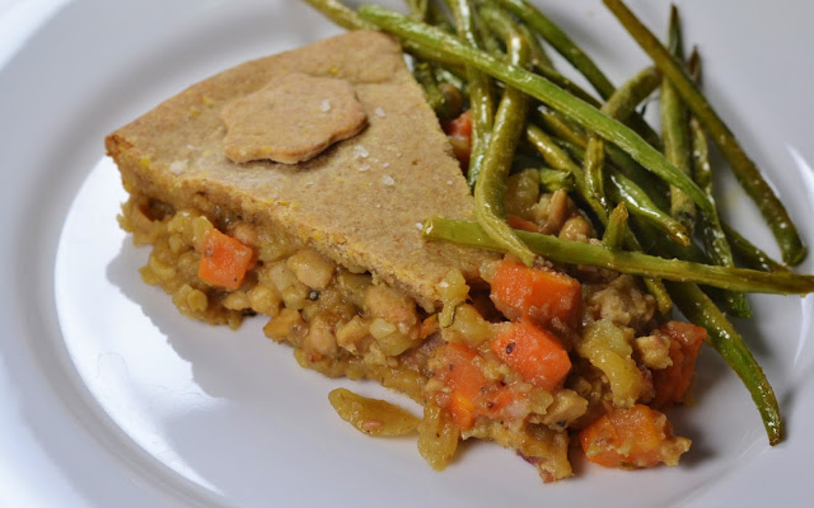 Tempeh Pot Pie With Lemon Roasted Green Beans