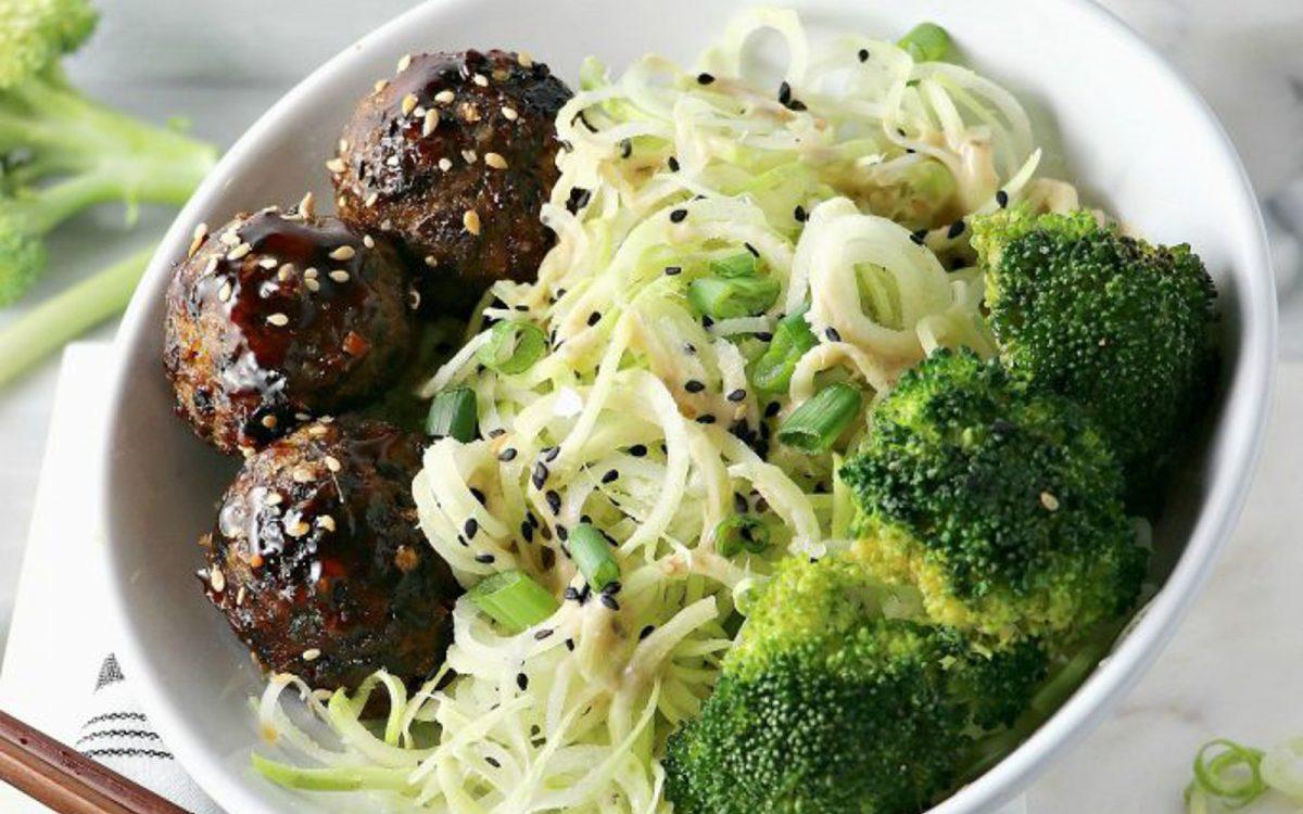 Broccoli Stem Noodles With Asian Black Bean Balls