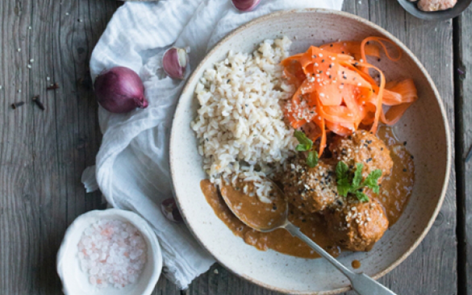Vegan Meatballs and Masala With Quick Pickled Carrots