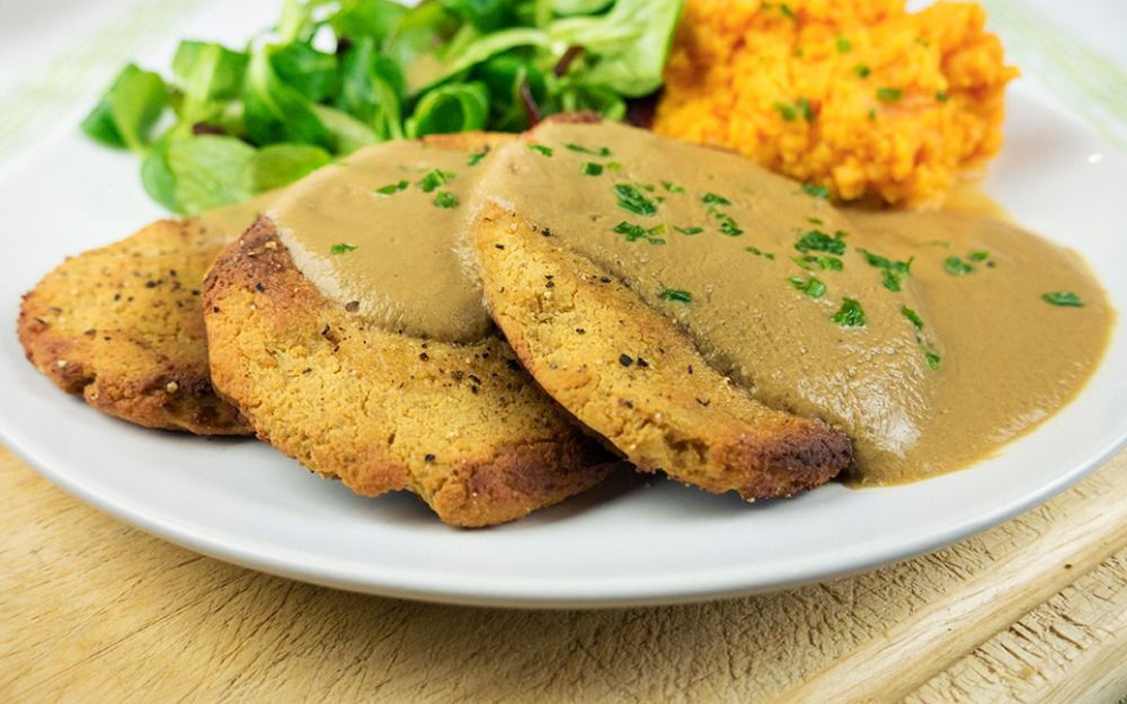 Tofu 'Chicken' Fillets With Mushroom Gravy and Mashed Sweet Potato [Vegan, Gluten-Free]