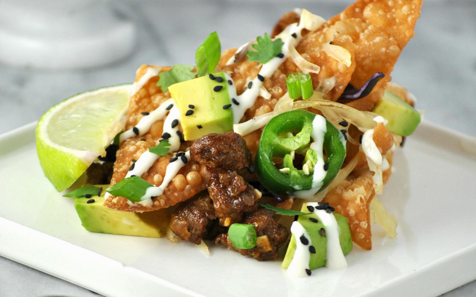 =Korean BBQ Wonton Nachos c