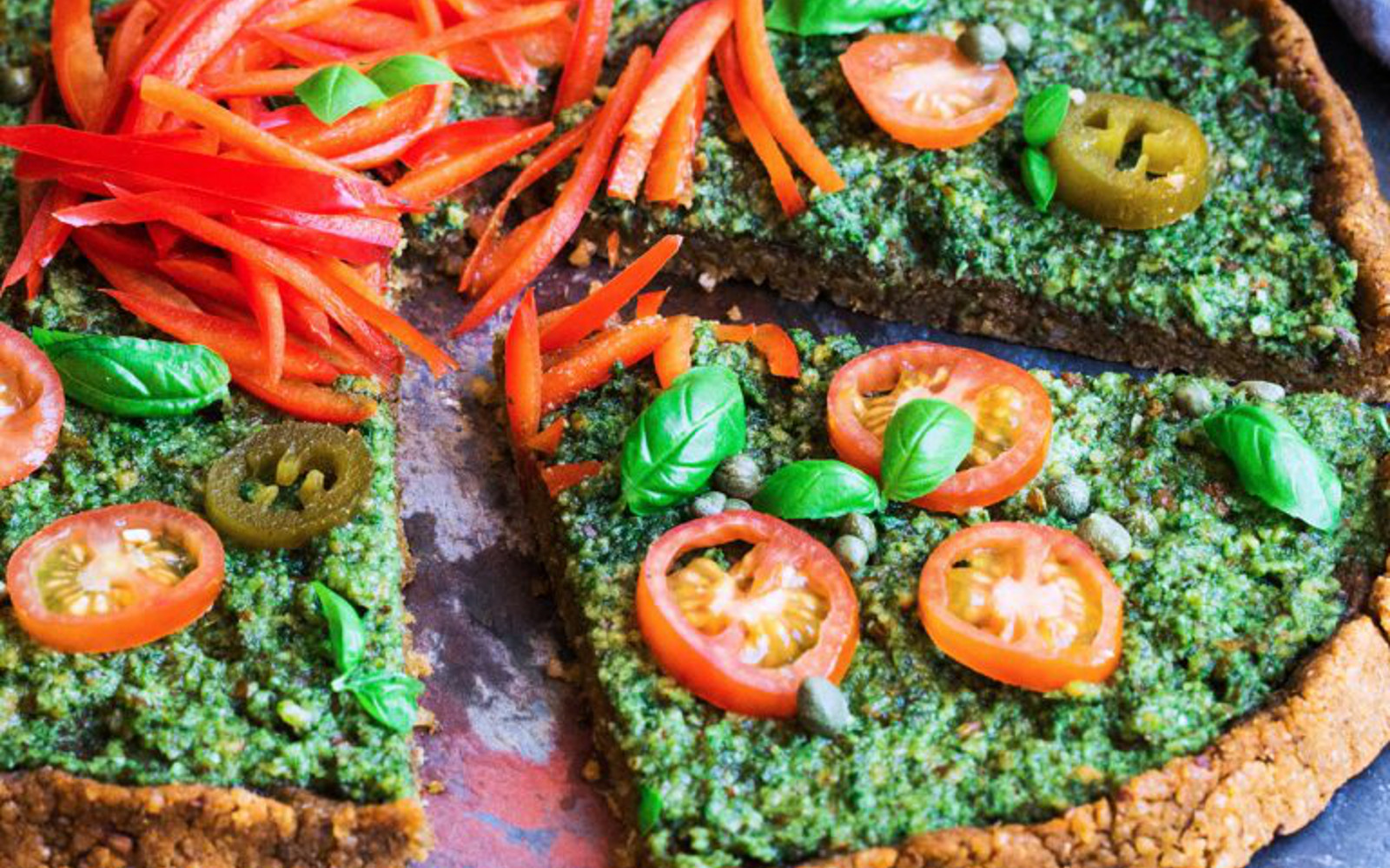 Pesto Pizza with Rice and Lentil Crust