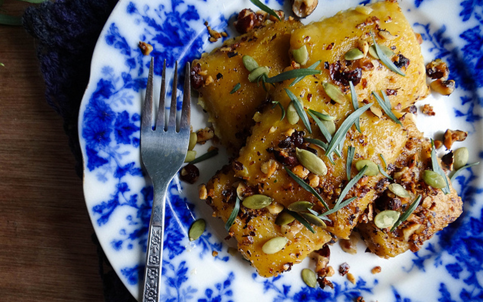 Pumpkin Ravioli With Hazelnut Tarragon Butter
