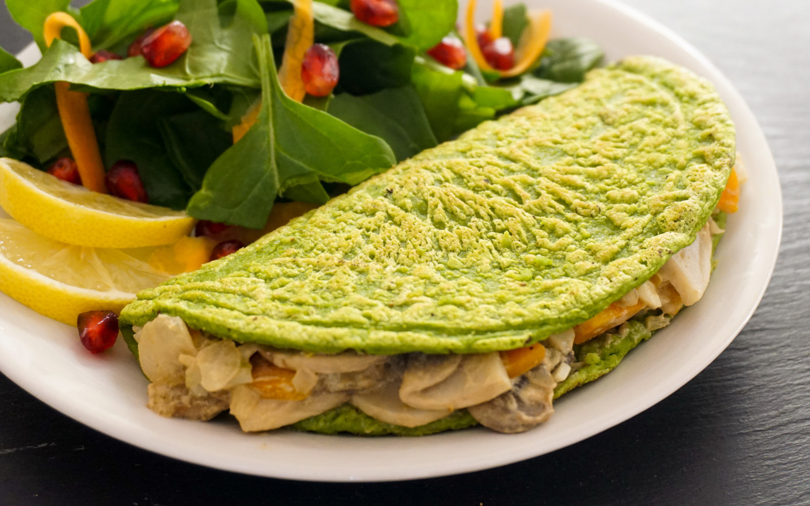 White Bean and Oat Omelet With Creamy Mushroom Filling