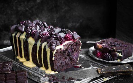 Sugar-Free Dark Chocolate Cake With Saffron Frosting