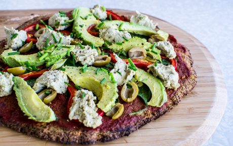 Plant-based pizza with chickpea and cauliflower crust